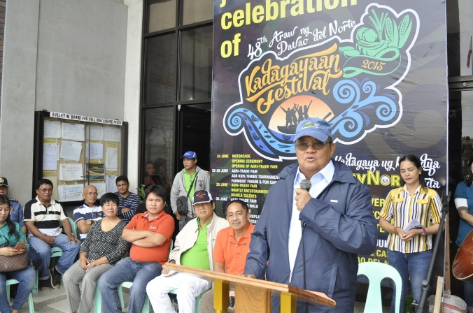 Gov. Rodolfo del Rosario enjoins the Dabaonons to actively participate in the weeklong  Kadagayaan Festival 2015, in celebration of the 48th Araw ng Davao del Norte on July 1. Noel Baguio